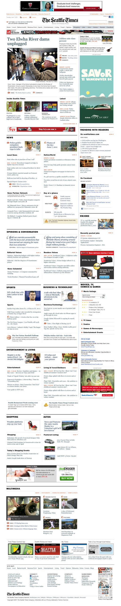The Seattle Times home page in 2011 AFTER redesign